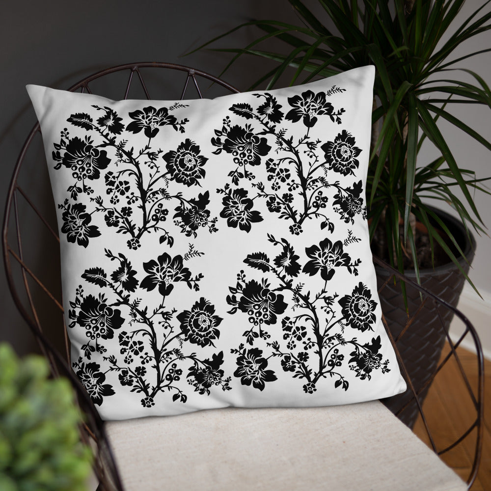 White Black Floral Throw Pillow