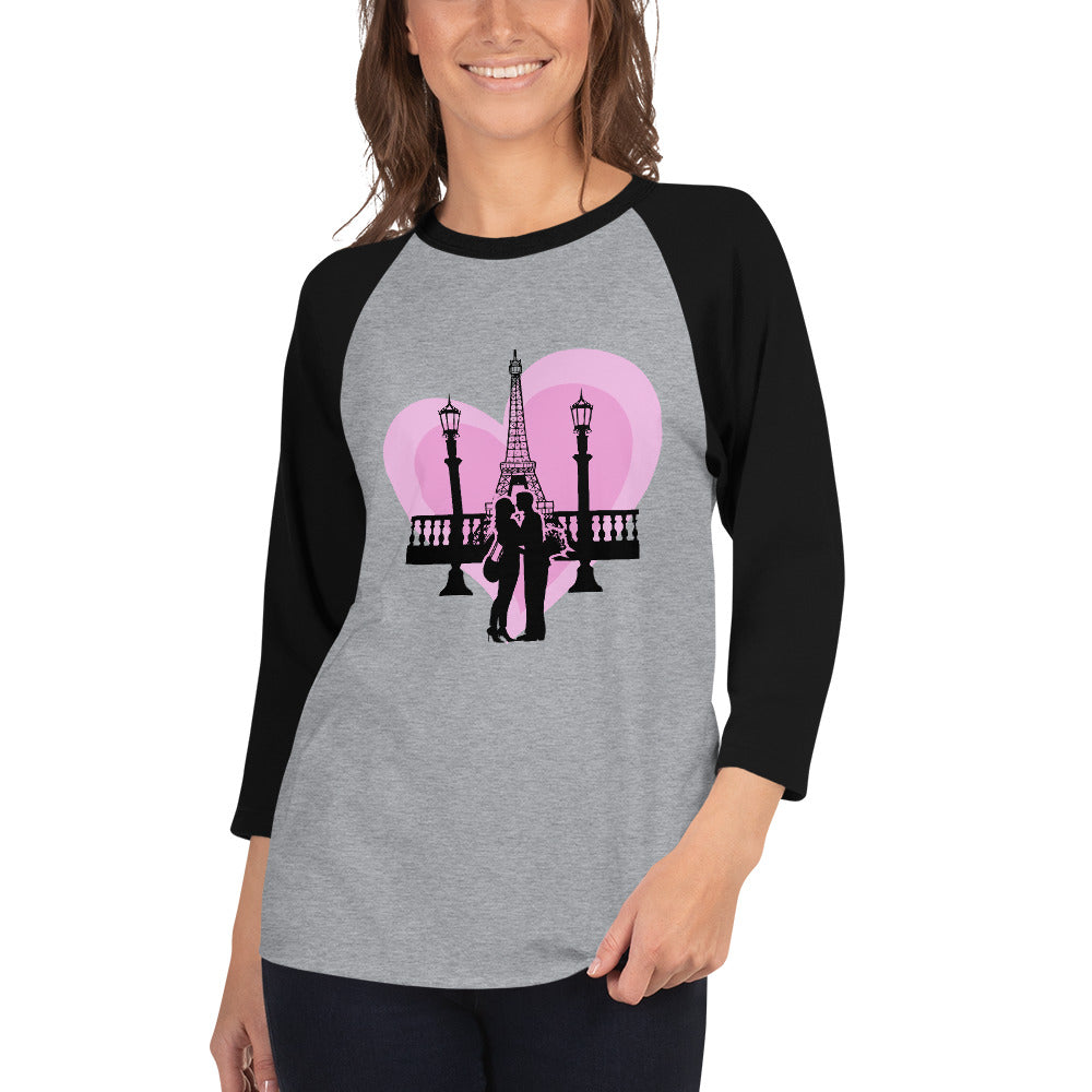 Eiffel Tower Valentin's Day 3/4 sleeve raglan shirt