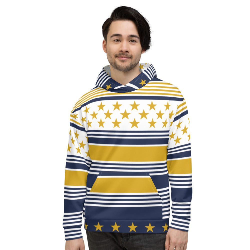 Yellow & Blue Christmas Hoodie for Men