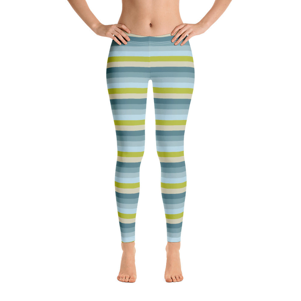 Lemon Green Striped Leggings for Women