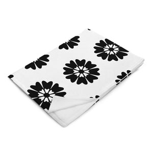Black and White Floral Throw Blanket