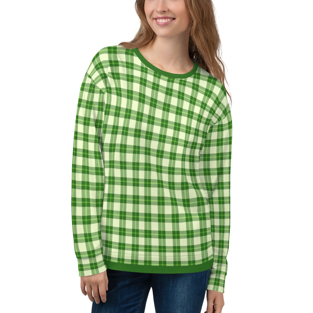 Green Cream Women's Plaid Sweatshirt
