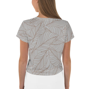 Gray and Nude Leaf Print All-Over Print Crop Tee