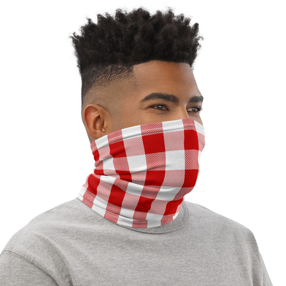 Red Checkered Neck Gaiter Face Mask