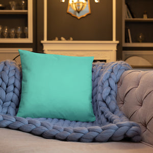 Turquoise and Gold Marble Throw Pillow