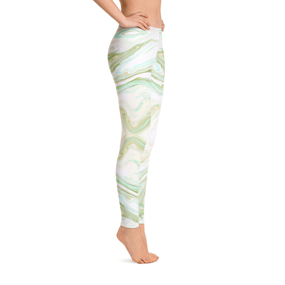 Green and White Marble Leggings Womens left