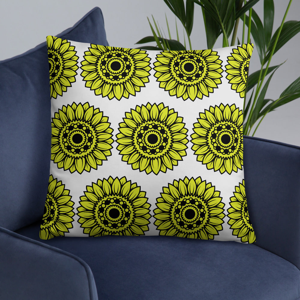 White Yellow Sunflower Throw Pillow