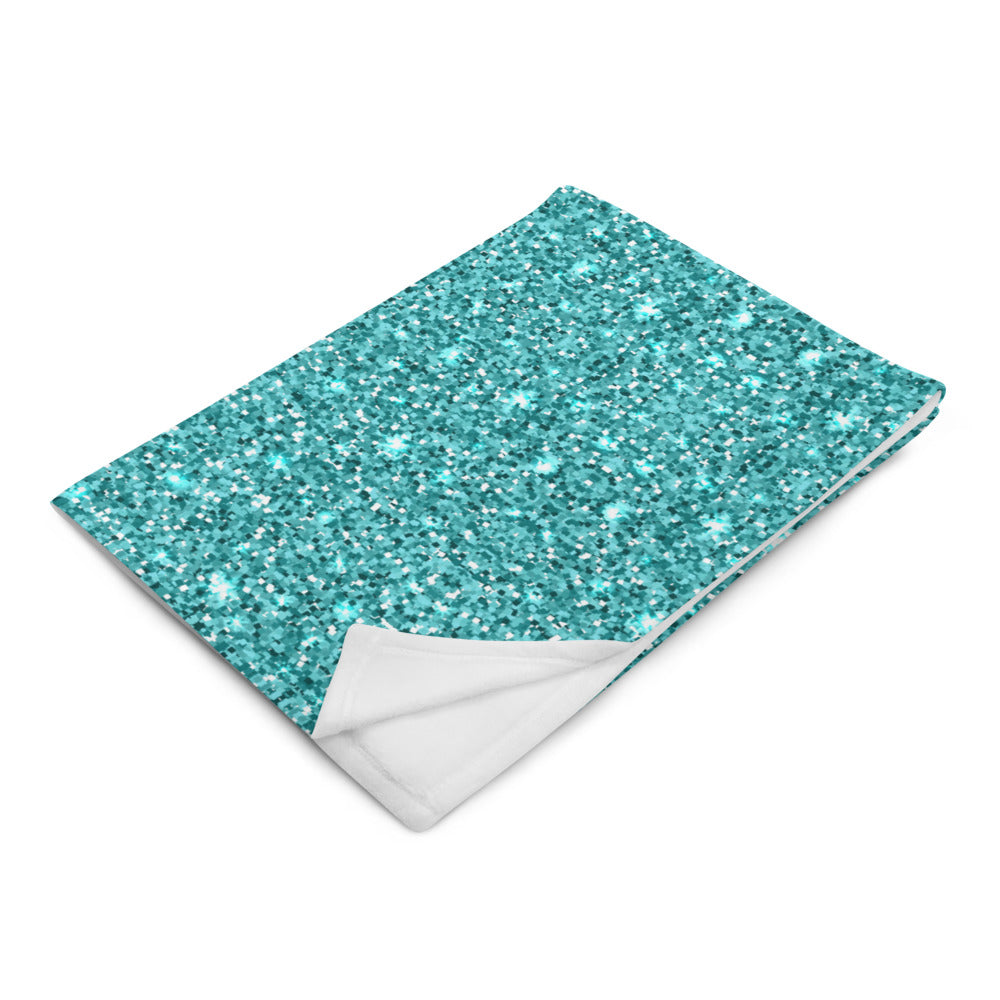 Blue Glittery Throw Blanket