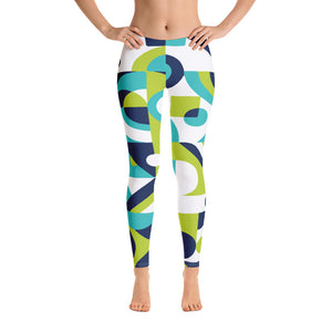 Green and White Printed leggings for women