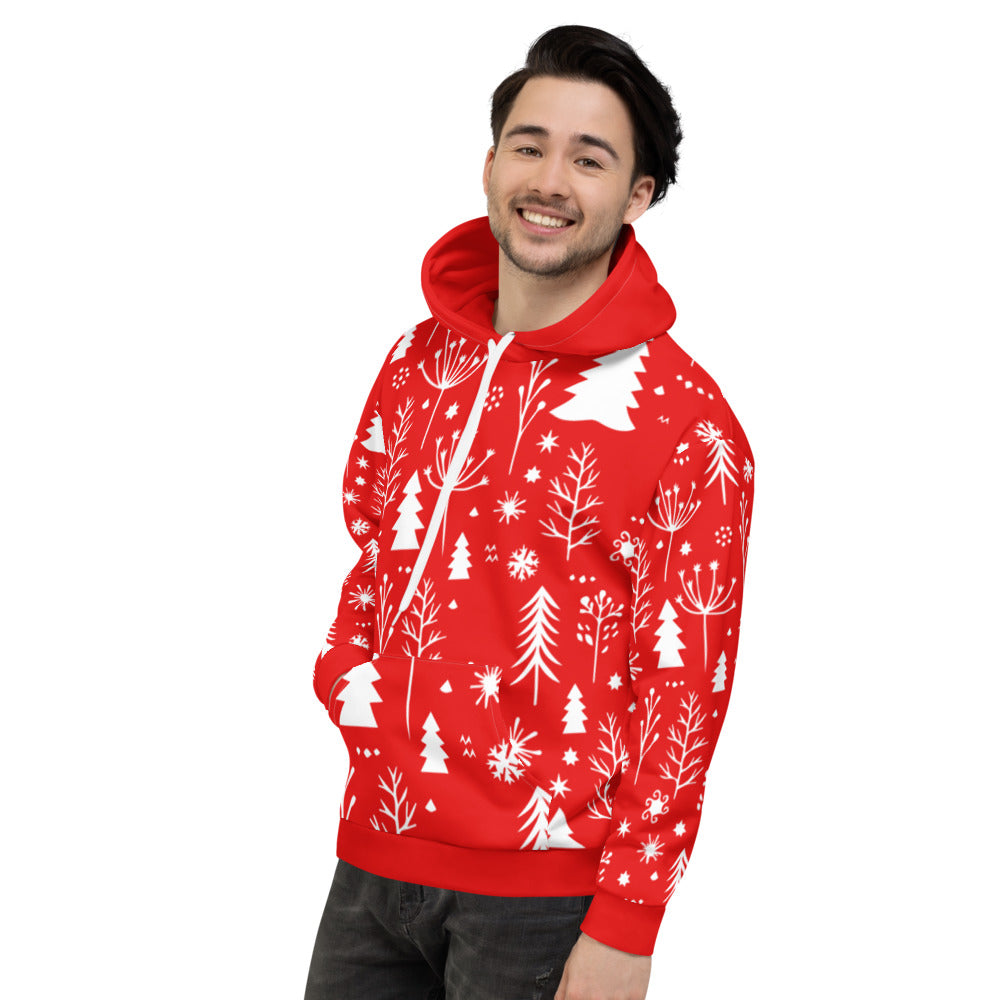 Red and White Christmas Unisex Hoodie