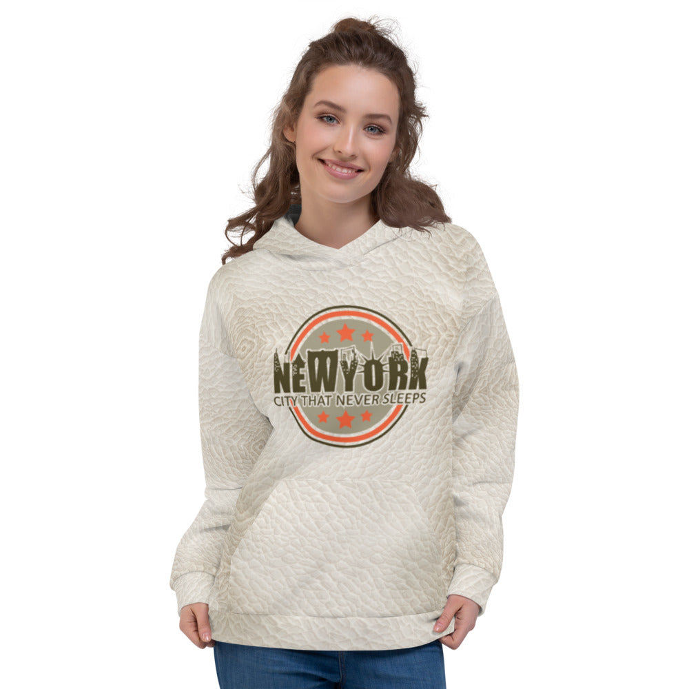 New York Leather Print Hoodie womens