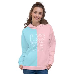 Pink and Blue Love Unisex Hoodie
