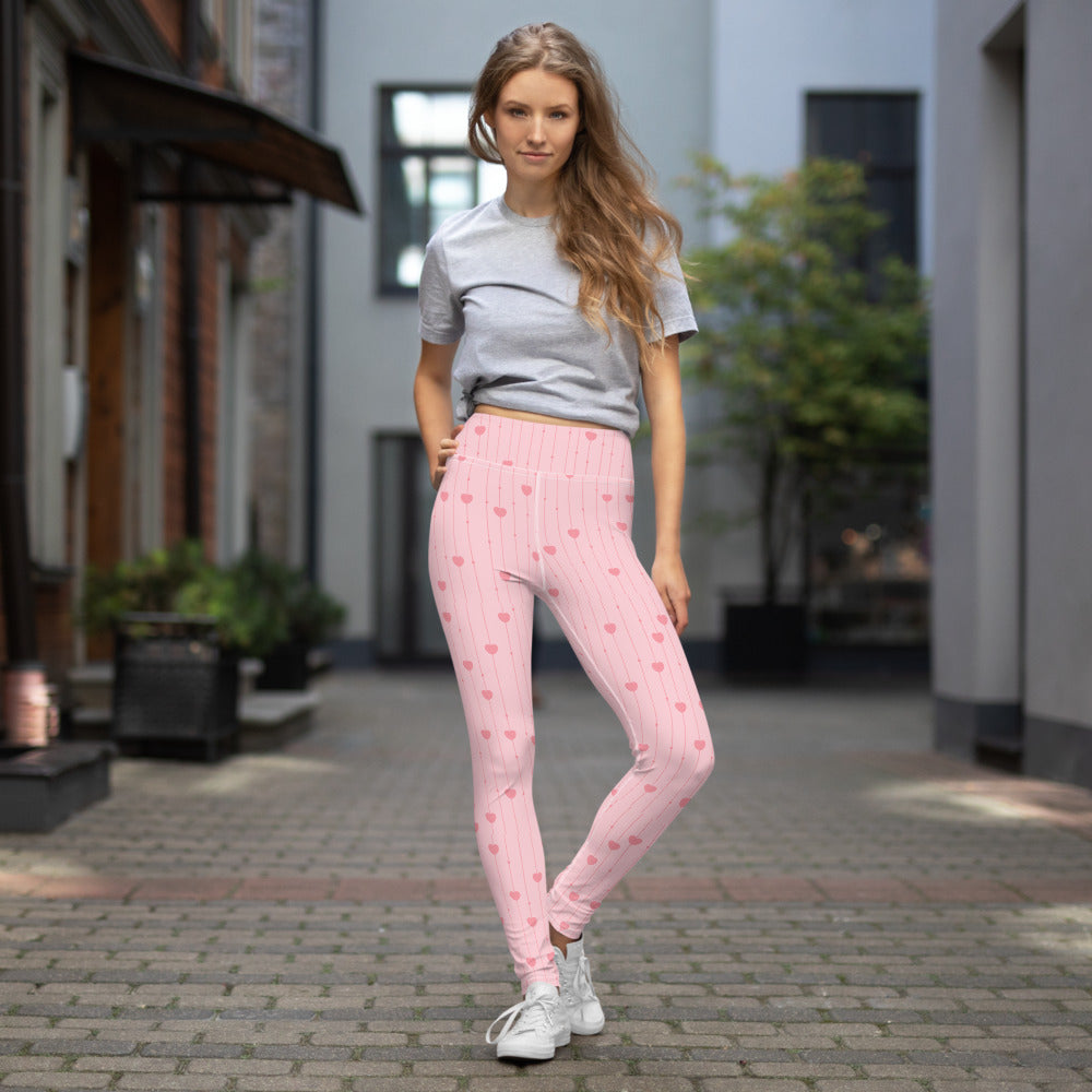 Pink Heart Yoga Leggings