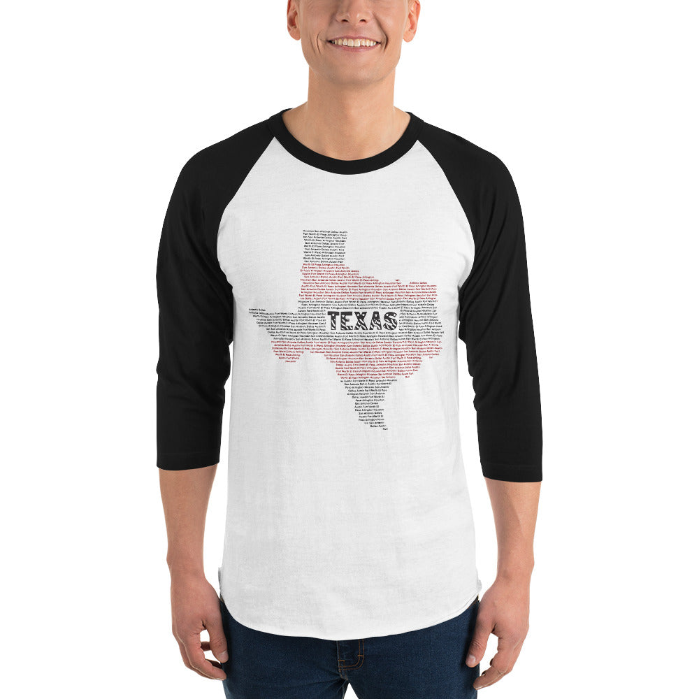 Texas Typo 3/4 Sleeve Raglan Shirt for Men