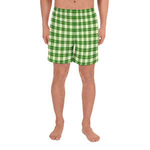 Green Plaid Men's Athletic Long Shorts
