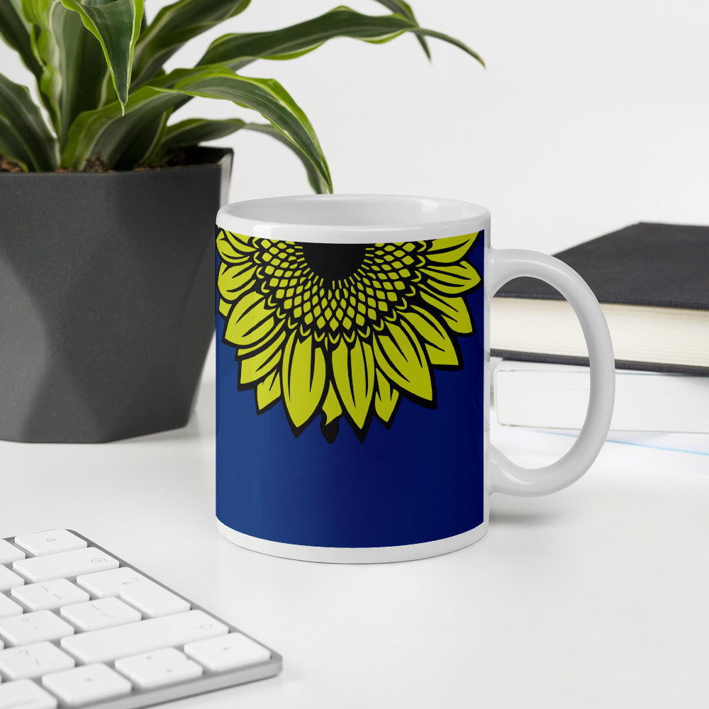 Royal Blue Sunflower Coffee Mug