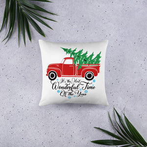 Vintage Red Truck Merry Christmas Pillow