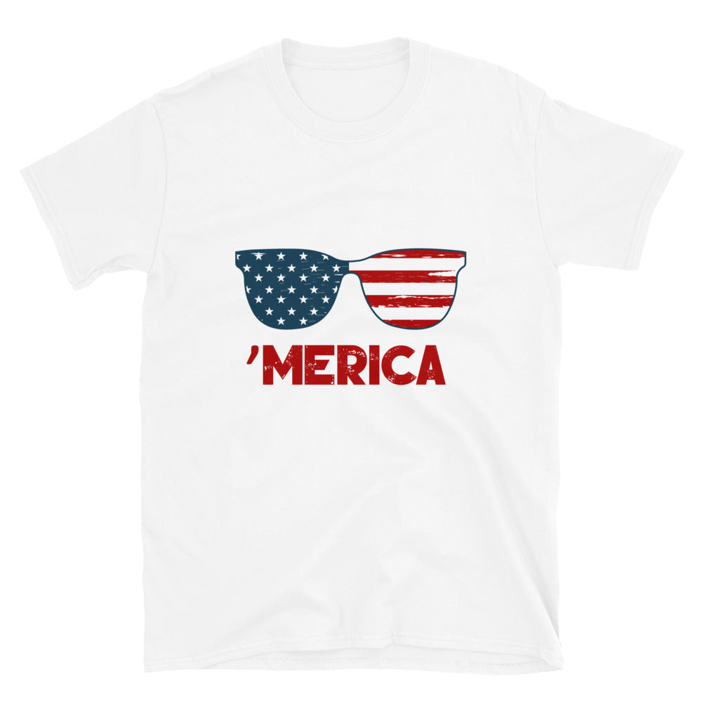 Merica T-Shirt - USA Flag, Glasses - Unisex
