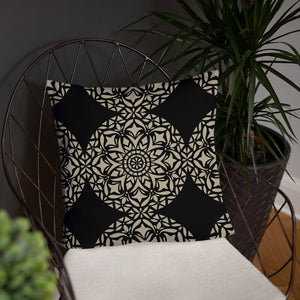 Nude Black Mandala Throw Pillow