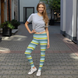 Lemon Green Striped Leggings for Women Wearing