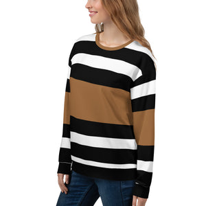 Brown Blue and White Sweatshirt for Women