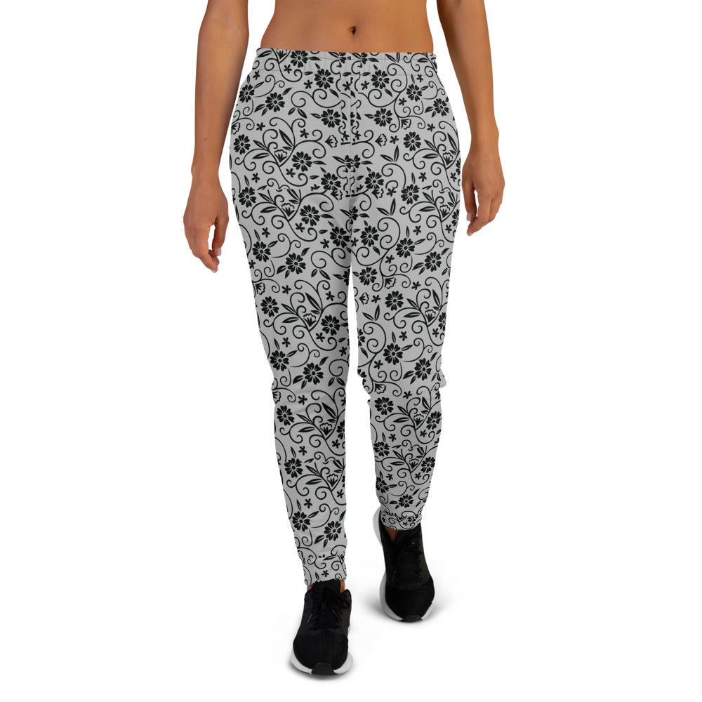 Black Grey Floral Women's Jogger