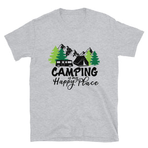camping happy place shirt grey