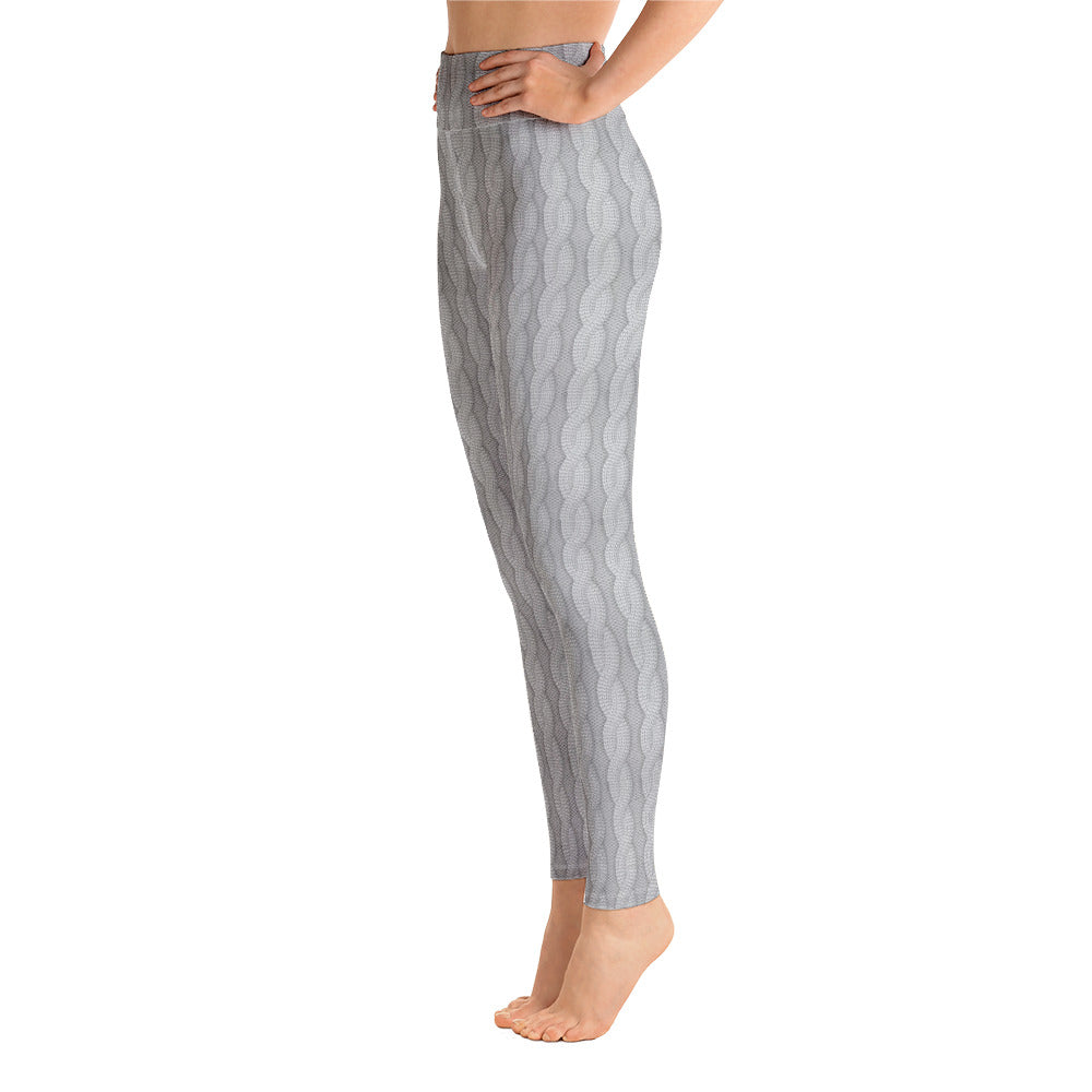 Gray Woolen Print Yoga Pants for Women
