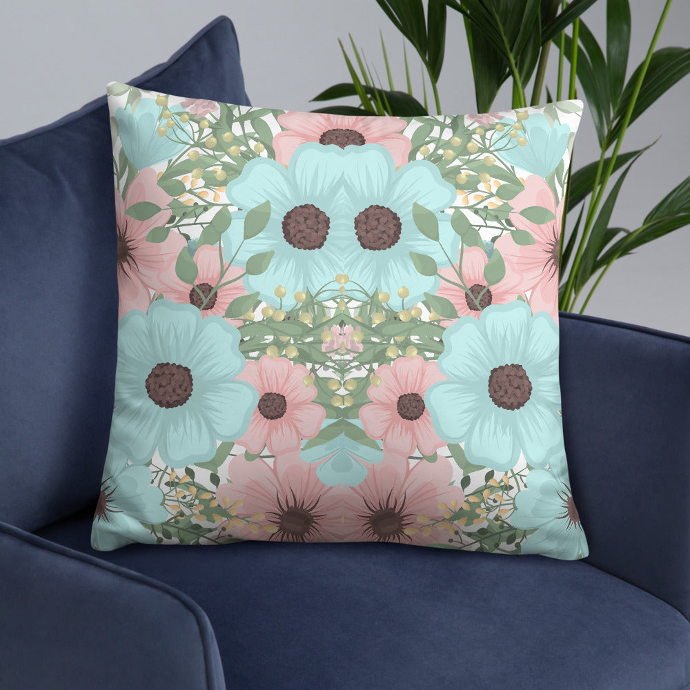 Blue Pink Floral Double-sided Throw Pillow