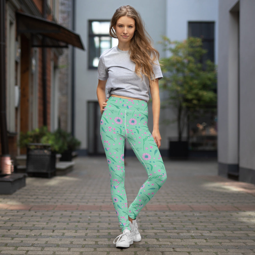 Mint Green Purple Spring Floral Yoga Leggings