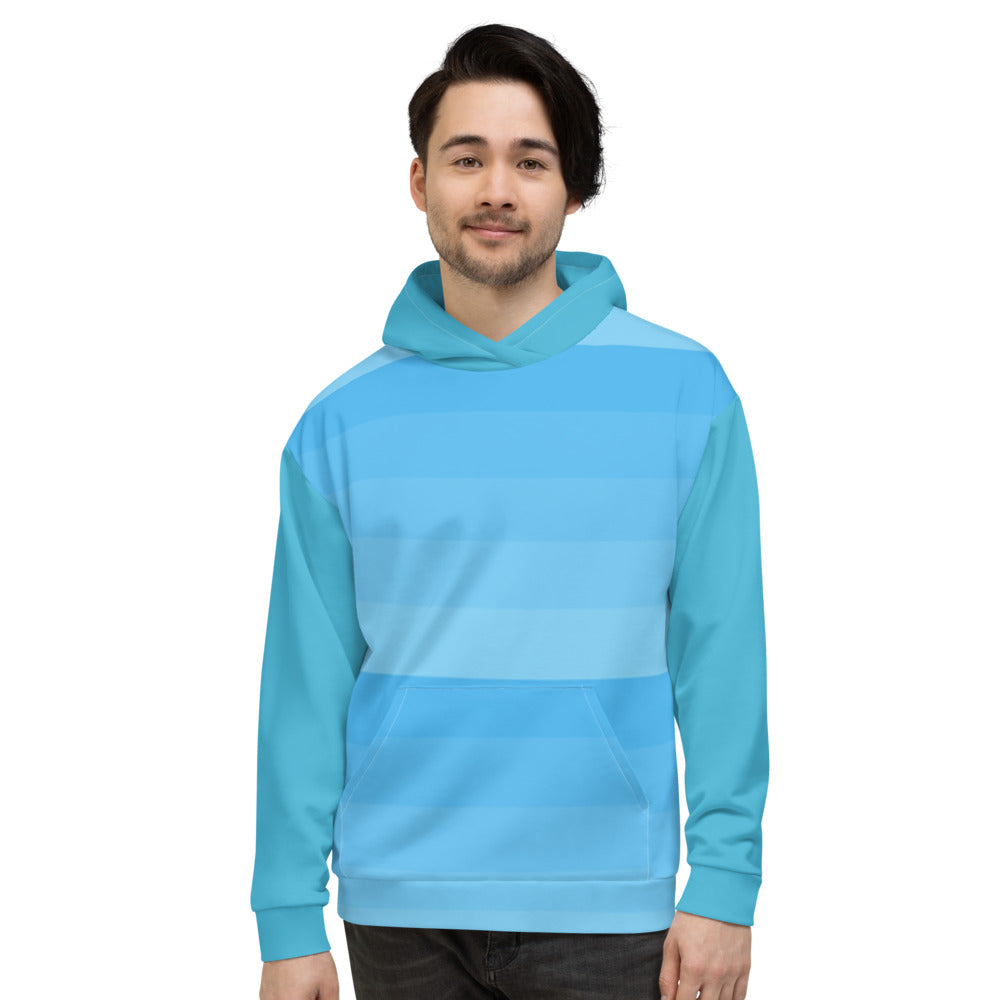 Aqua Blue Stripe Hoodie for Men