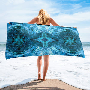 Teal Blue Abstract Towel