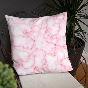White and Pink Marble Pattern Throw Pillows