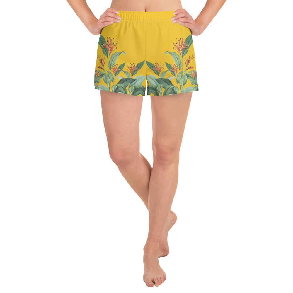 Yellow and Green Floral Athletic Shorts for Women