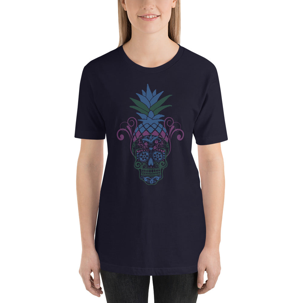 Pineapple Sugar Skull Dark T-Shirt for Women