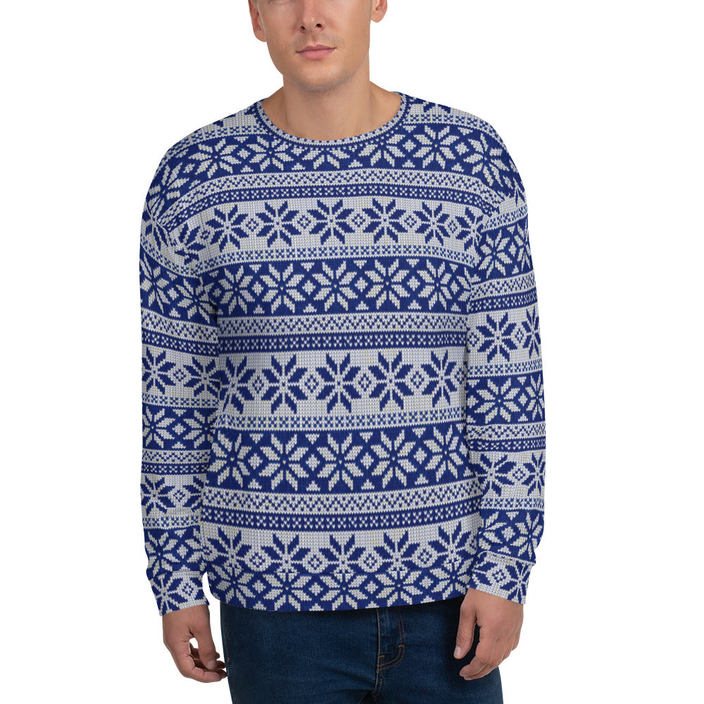 Winter Pattern Blue and Silver Unisex Sweatshirt
