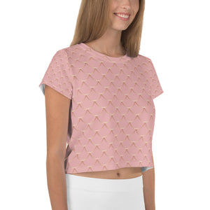 Rose and Gold Fish Skin All-Over Print Crop Tee