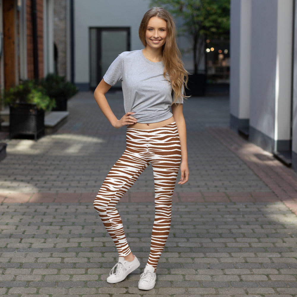 White and Brown Leggings with Animal Print | Mynkoo.com