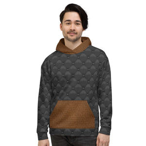 Black Brown Leather Hoodie Mens