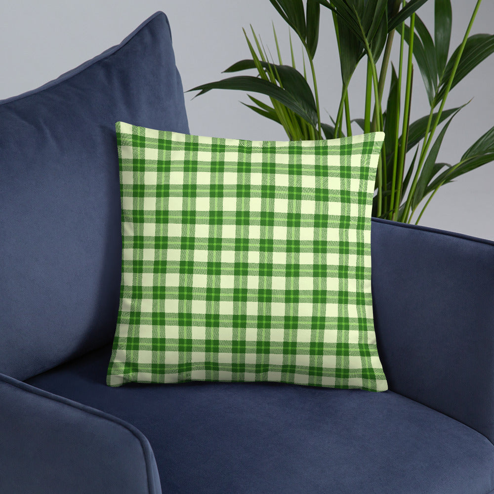 Green and White Plaid Throw Pillow