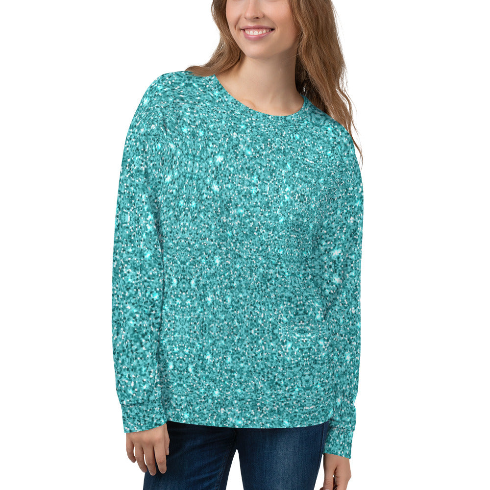 Blue Glittery Sweatshirt for Women