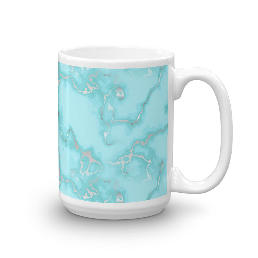 Aqua Blue Marble Coffee Mug
