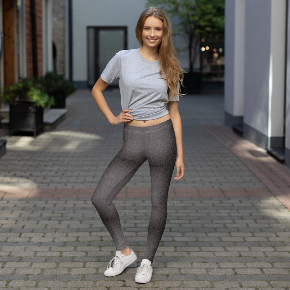 women wearing Black and Grey Shaded Denim Leggings