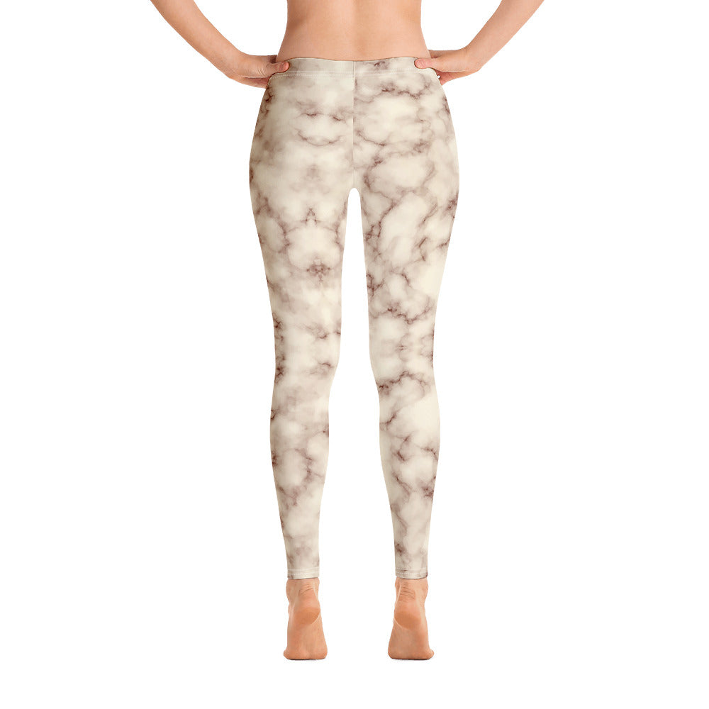 Brown and white Marble Leggings Womens Back