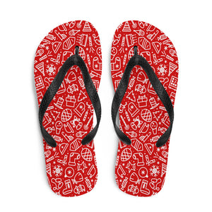 Christmas Seamless Pattern Red Flip-Flops