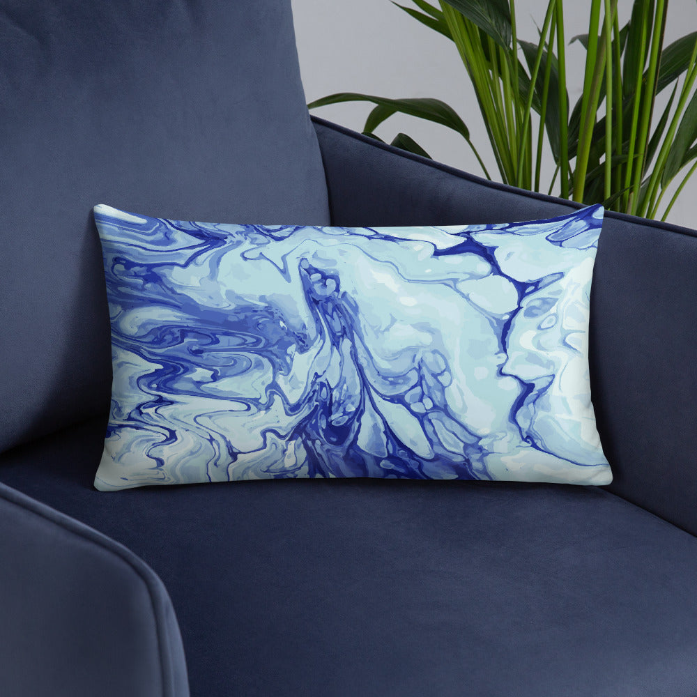 Blue and Violet Abstract Pattern Throw Pillow