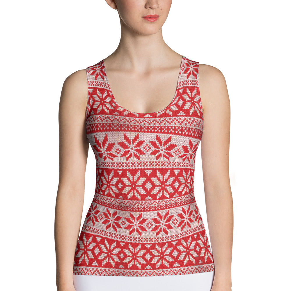 Red and White Christmas Print Tank Top