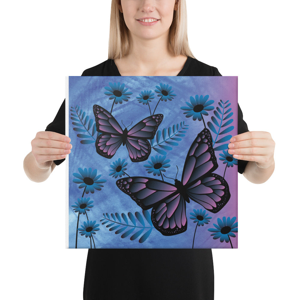 Pink Blue Butterfly Canvas