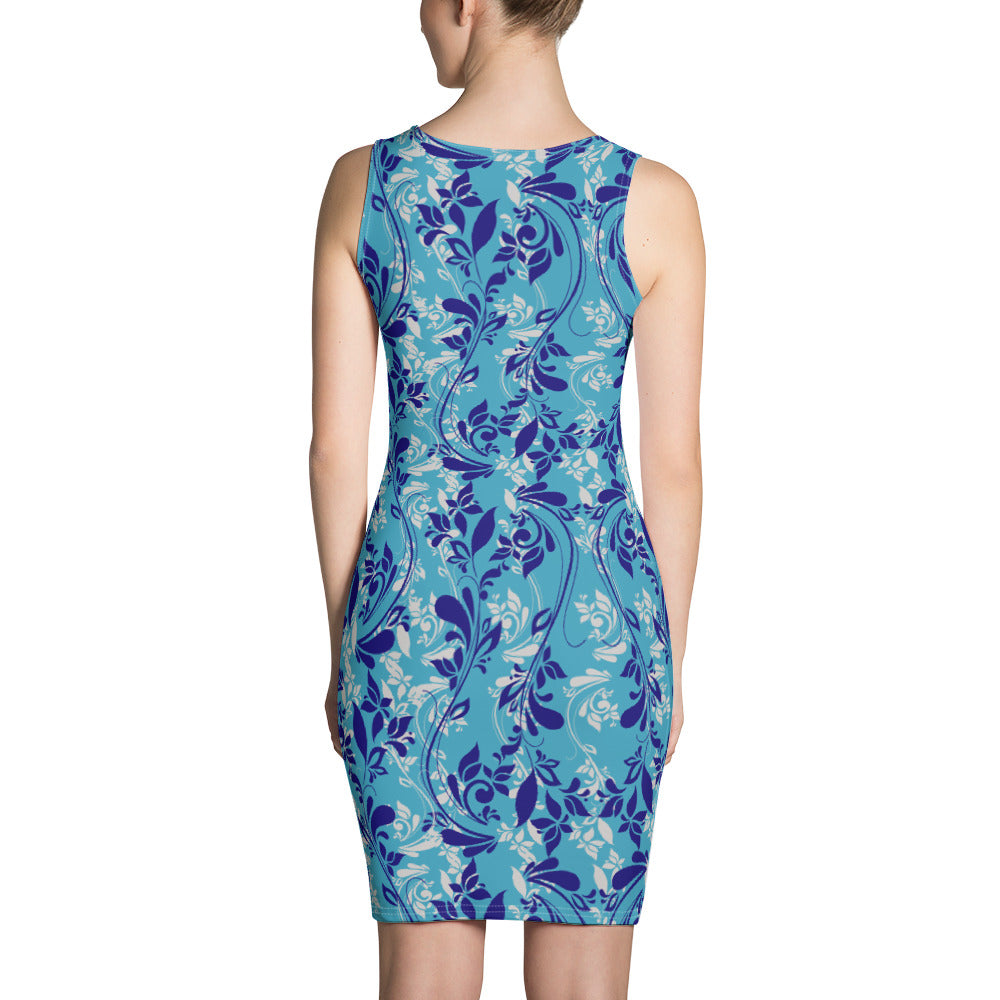 Blue Spring Floral Cute Dress