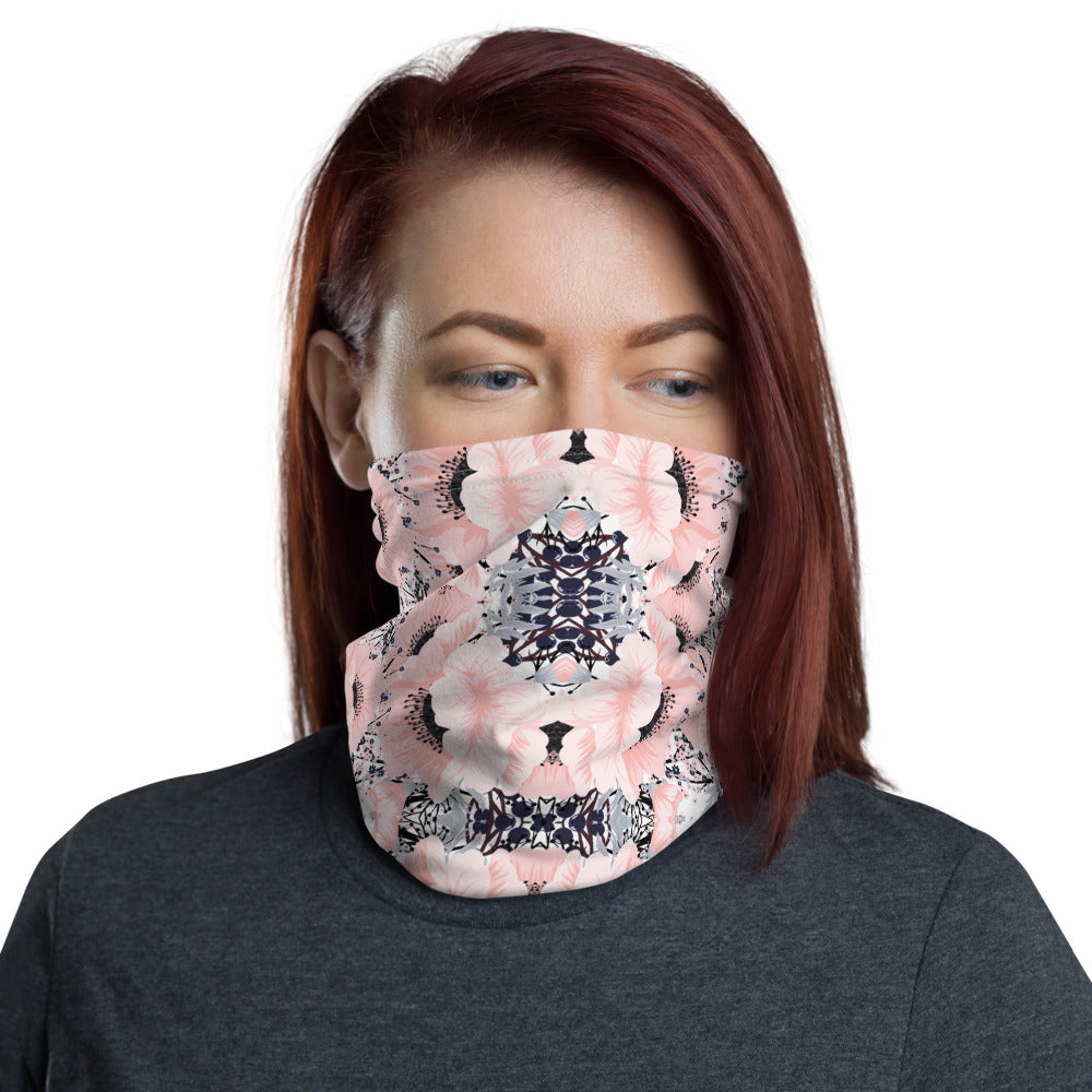Pink Floral Neck Gaiter Face Mask